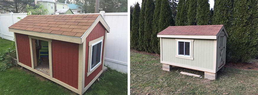 Racing pigeon coop before and after